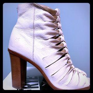 Frye Braided peep toe leather boot